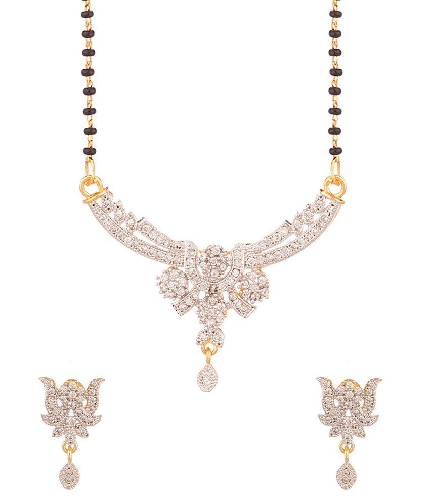 Voylla Black American Diamond Mangalsutra set