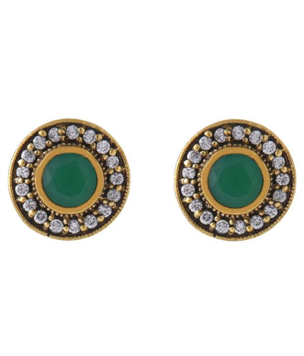 Zerokaata Multicolour Silver Alloy Cz Stud Earrings