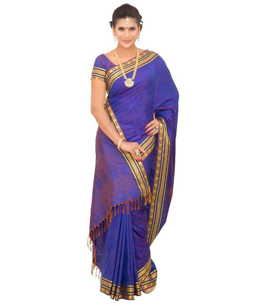 Thara Sarees Blue Art Silk Saree