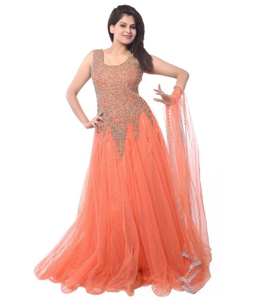 world fashion orange georgette dress material buy world