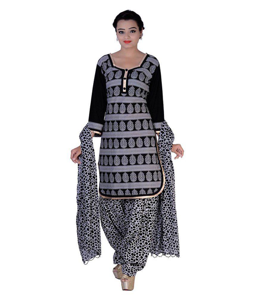 Aavaya Fashion Black Cotton Stitched Suit
