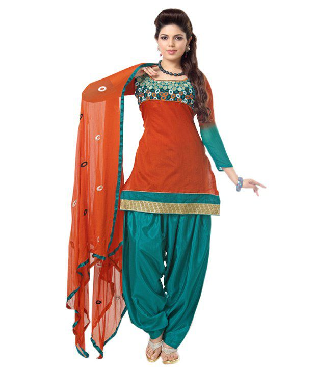 Fine Fab Orange Chanderi Unstitched Dress Material