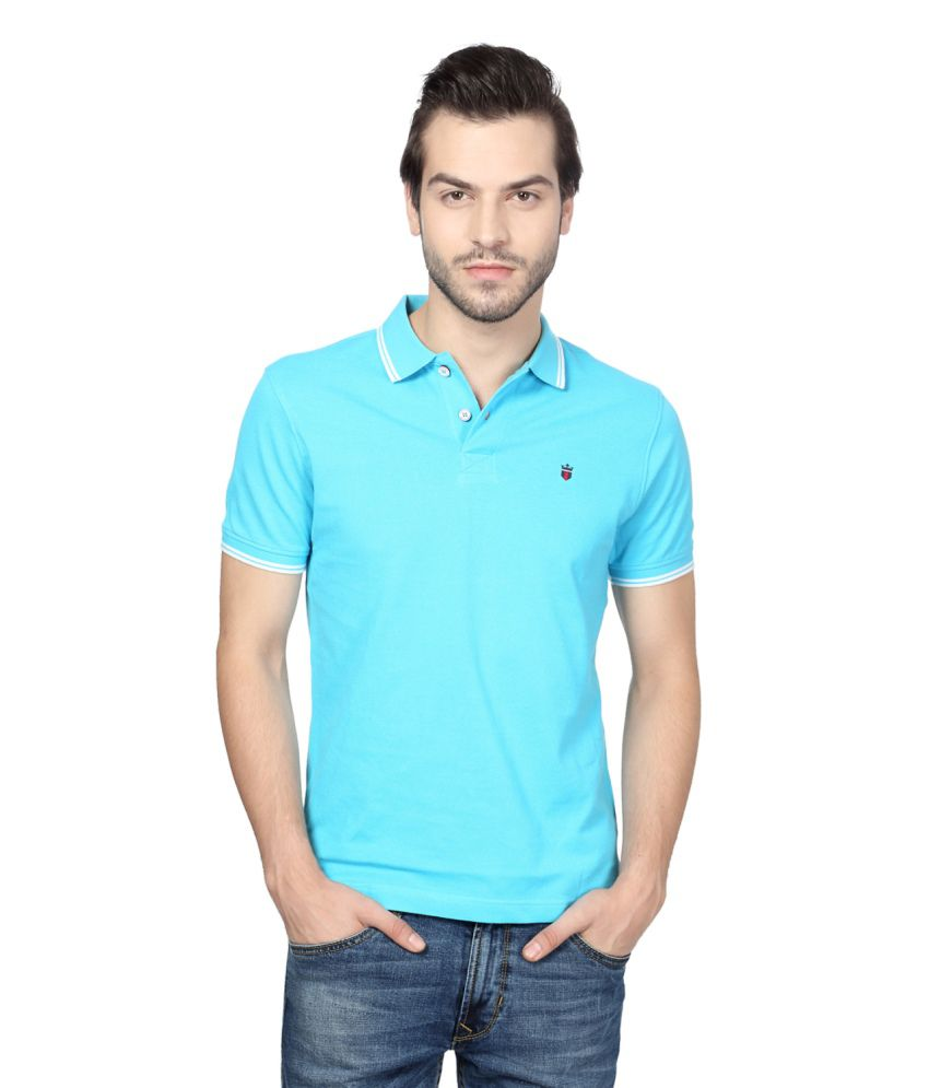 328264b4e2df29 Louis Philippe Blue Cotton Polo T-shirt - Buy Louis Philippe Blue Cotton  Polo T-shirt Online at Low Price - Snapdeal.com