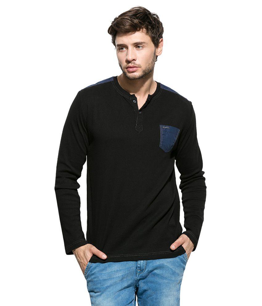 Mufti Black Henley Neck T Shirt