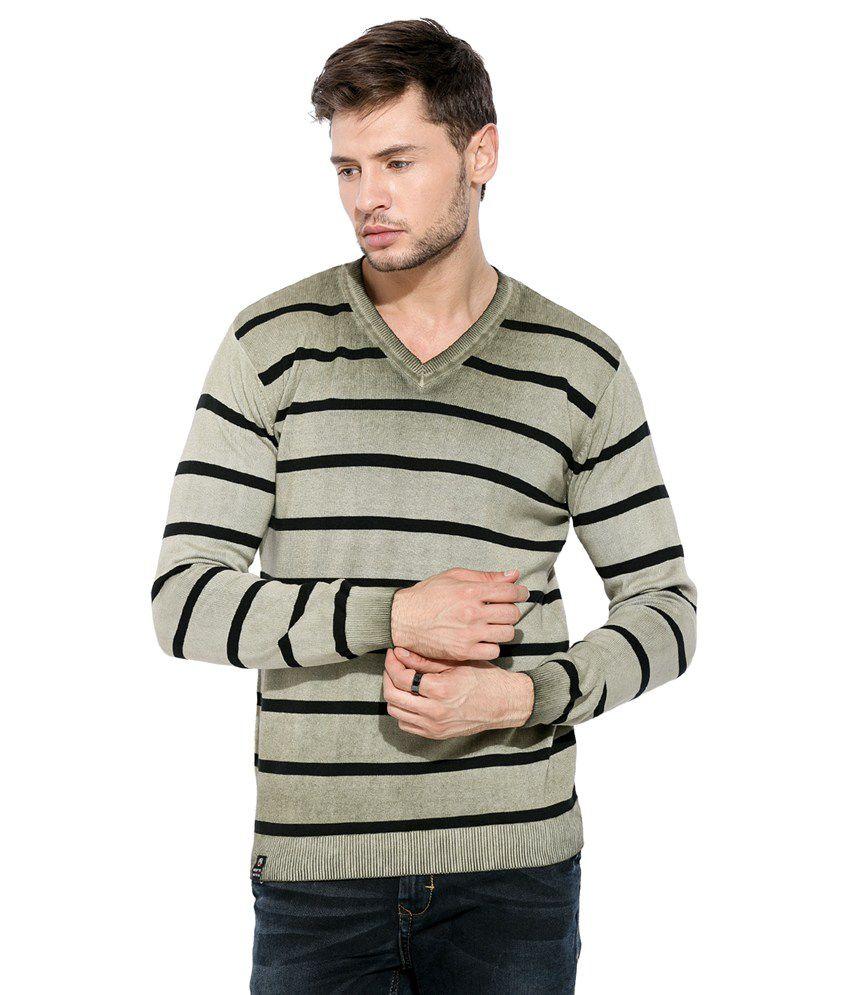 Mufti Grey Striped V Neck T Shirt