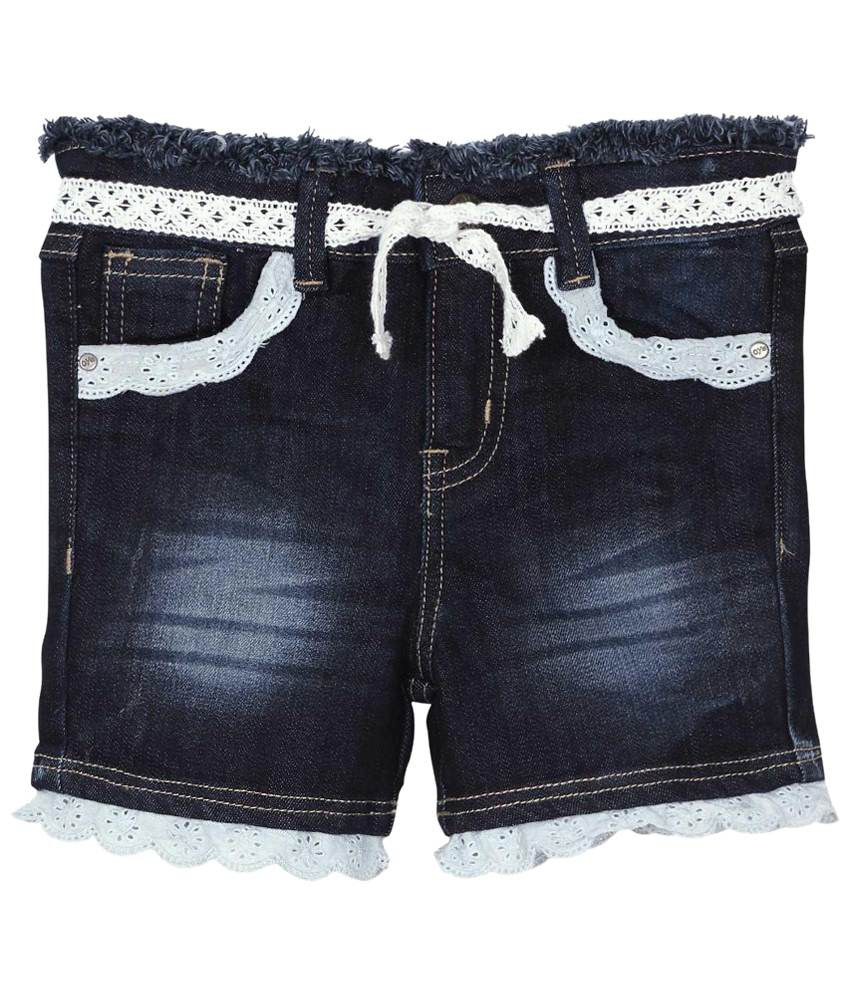 Oye Blue Denim Hot Shorts for Girls