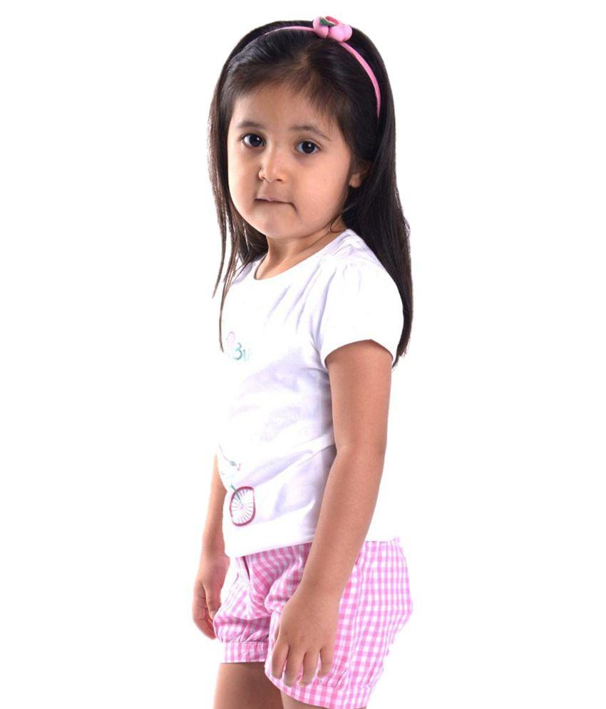 Oye Pink Gingham Shorts for Girls