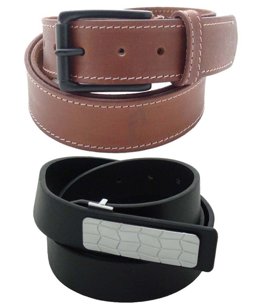 SFA Combo of 2 Brown & Black Casual Belts