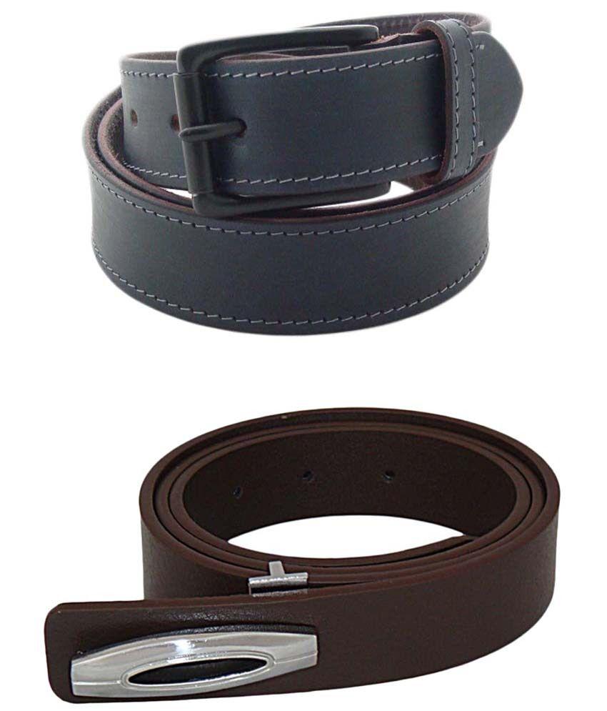 SFA Combo of 2 Dark Gray & Brown Casual Belts