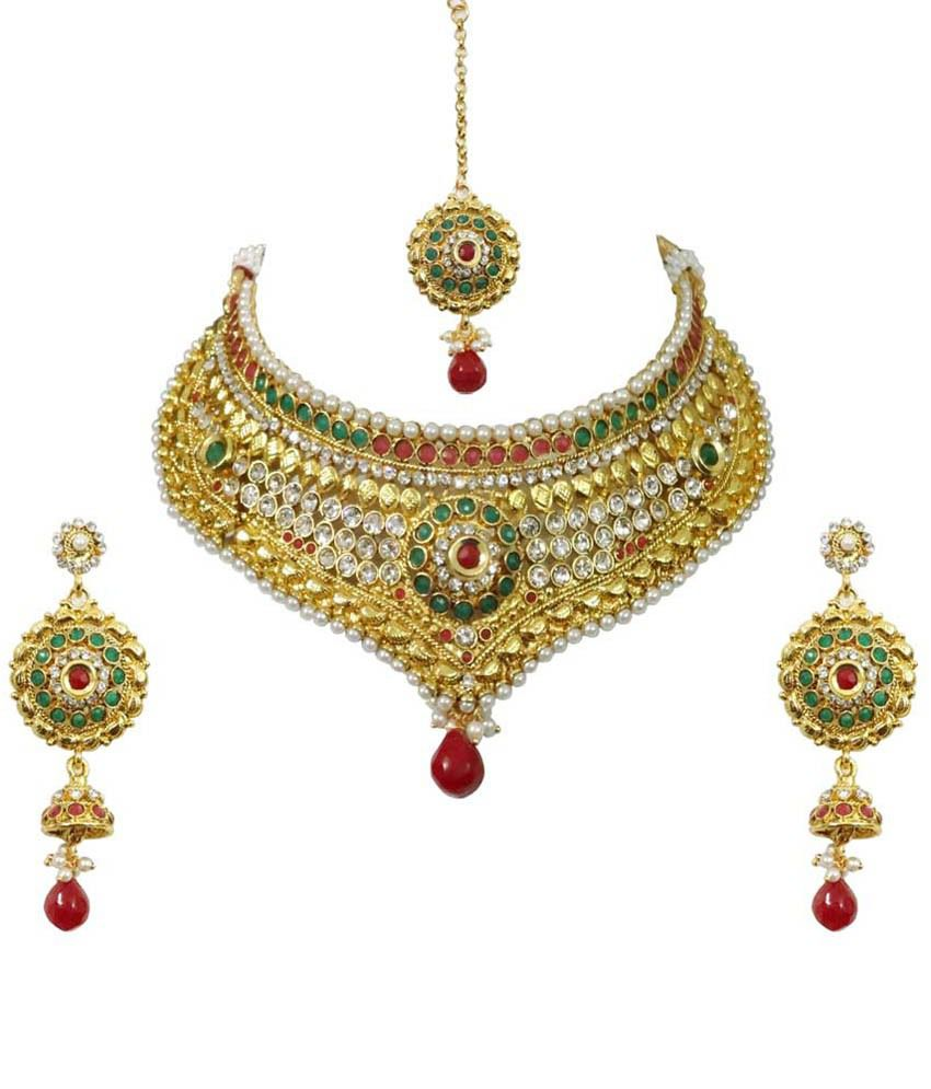 Arts Chetan Multicolour Brass Combo Of Necklace Set With Maang Tika