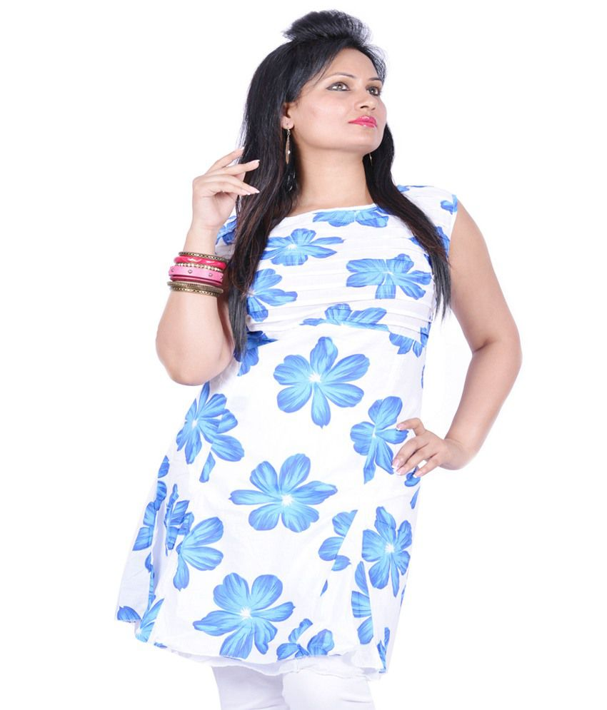 Pawan Tex White Cotton Kurti