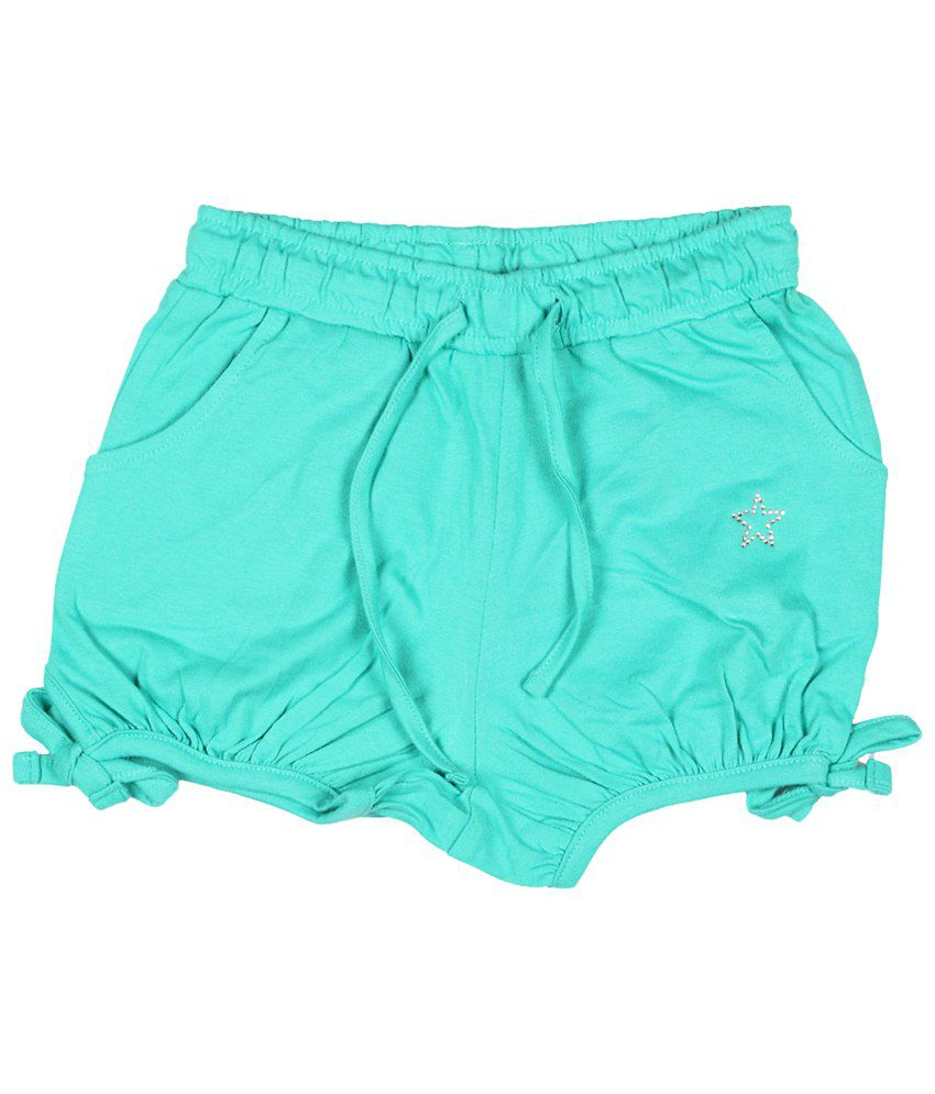 People Green Casual Shorts for Girls