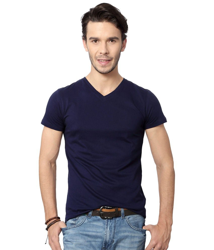 People Navy Blue Daily Wear T Shirt