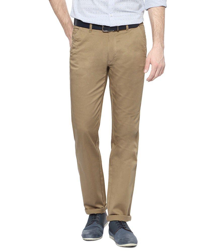 Peter England Khaki Casual Trousers