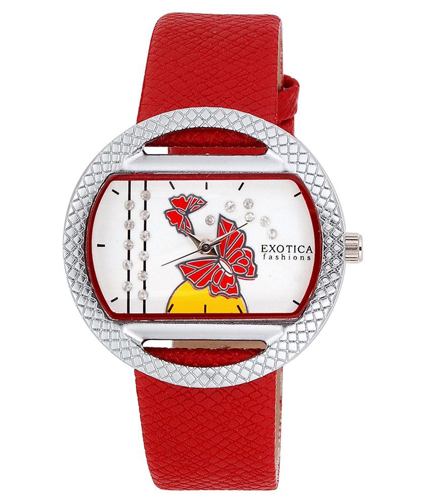 Exotica Fashions Exotica Fashions Watches Red Leather Oval Quartz Watch