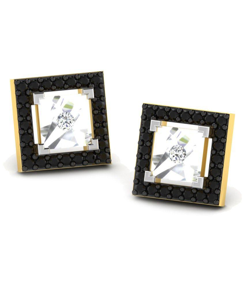 Fullcutdiamond 18 Kt Gold & 0.14 Ct Diamond Contemporary Stud Earrings