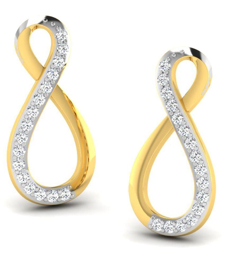 Fullcutdiamond 18 Kt Gold & 0.27 Ct Diamond Contemporary Stud Earrings