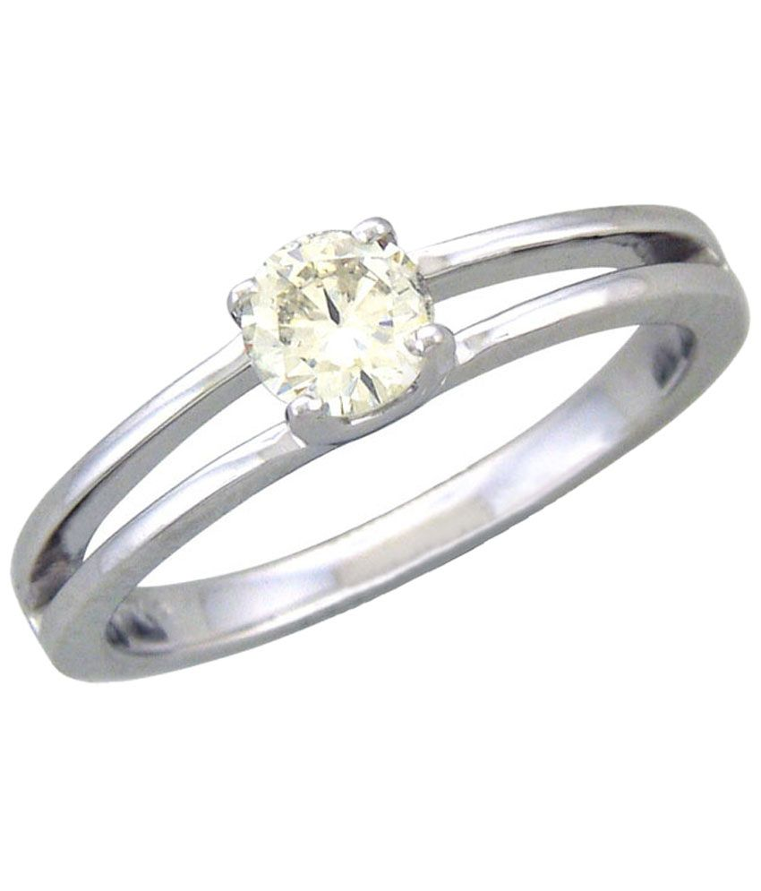Fullcutdiamond 18 Kt White Gold & 0.1 Ct Diamond Solitaire Ring for Women