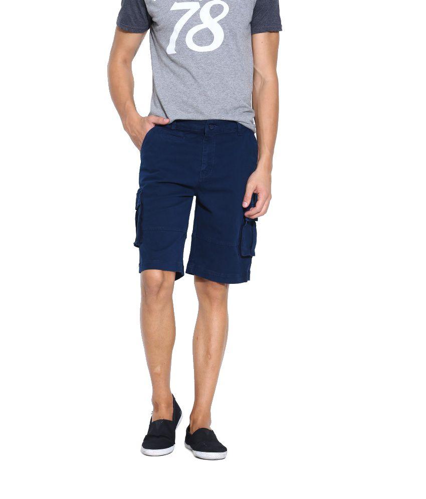 Jogur Navy Cotton Blend Shorts