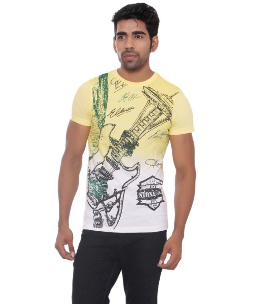 Pezzava Yellow and White Cotton Blend T-shirt