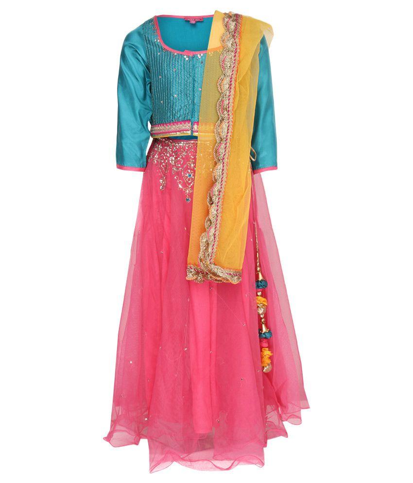 Biba Blue & Pink Lehnga Choli With Dupatta
