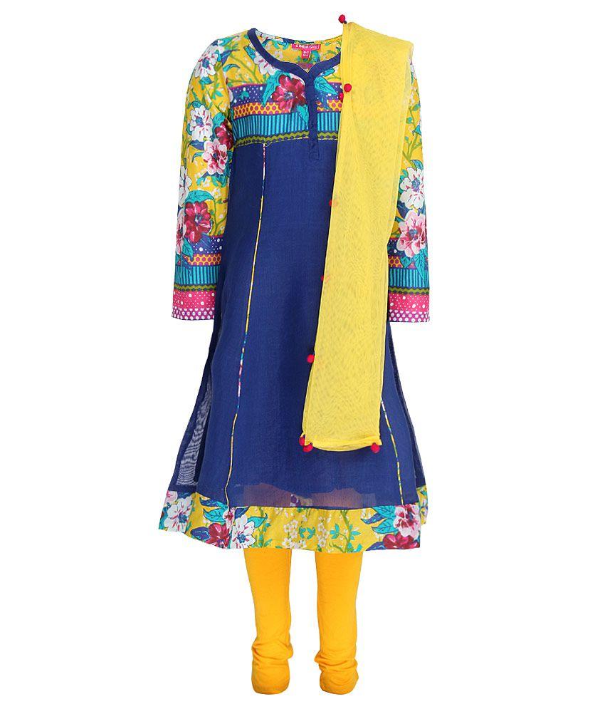 Biba Blue & Yellow Churidar Kurta With Dupatta