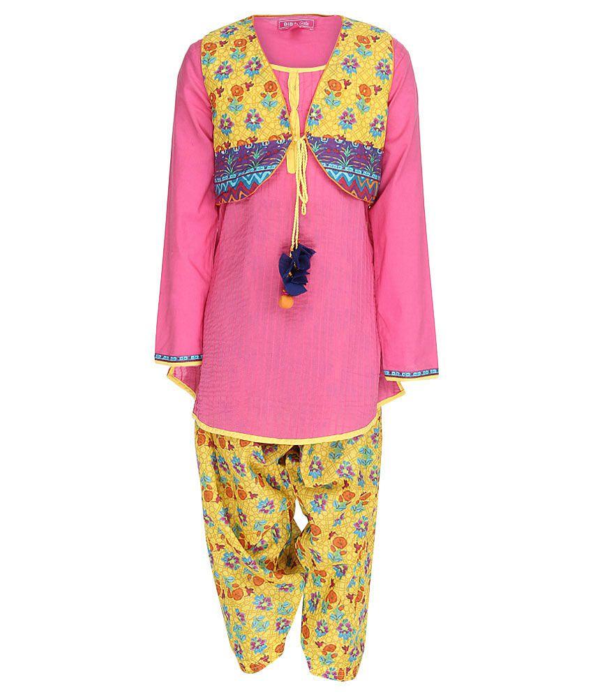 Biba Pink & Yellow Salwar Kurta With Jacket