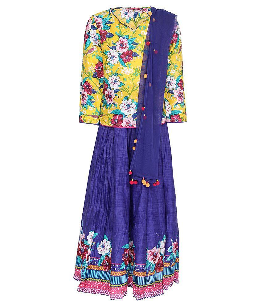 Biba Yellow & Blue Lehnga Choli With Dupatta
