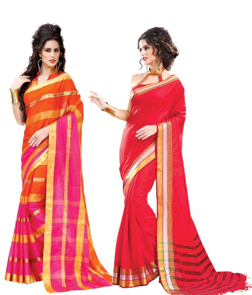 Reet Combo of Pink and Red Cotton Sarees with Blouse Piece