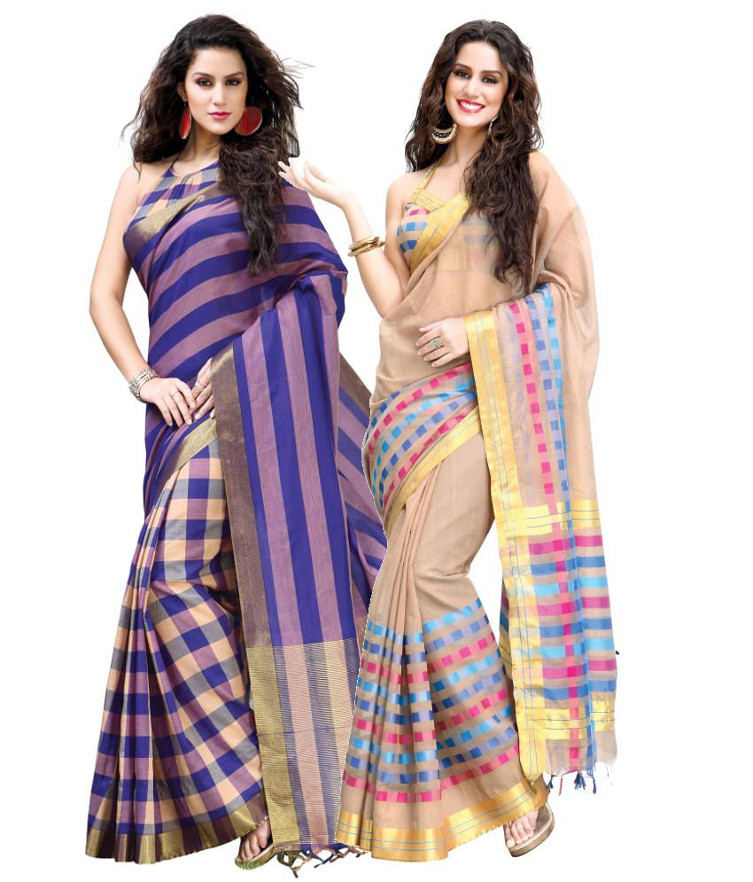 Reet Combo of Purple and Beige Cotton Sarees with Blouse Piece
