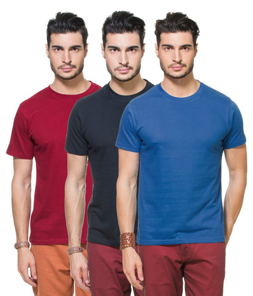Zovi Multicolour Cotton Round Neck Solid T-Shirts (Pack of 3)