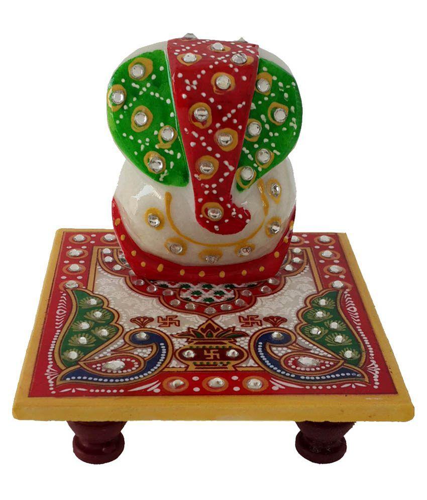 Divinecrafts Makrana Marble Kundan Studded Ganesh Chowki