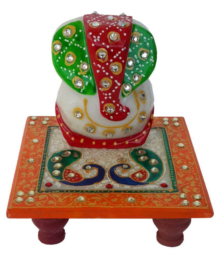 Divinecrafts Makrana Marble Kundan Studded Peacock Ganesh Chowki