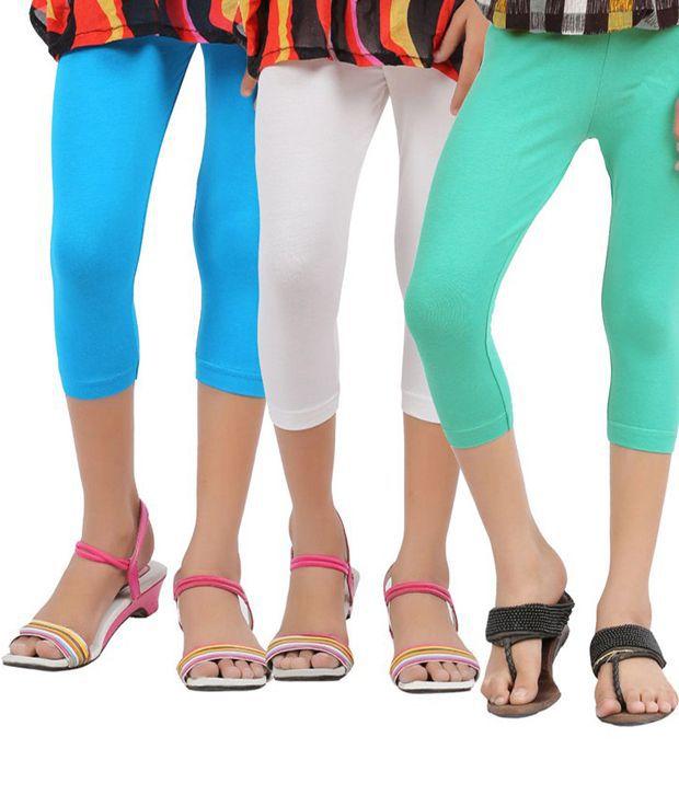Greenwich Multicolour Capri For Girls-Set Of 3