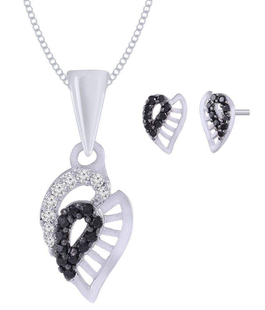 Jewelscart Silver Plated CZ Black Stone AD Pendant Set