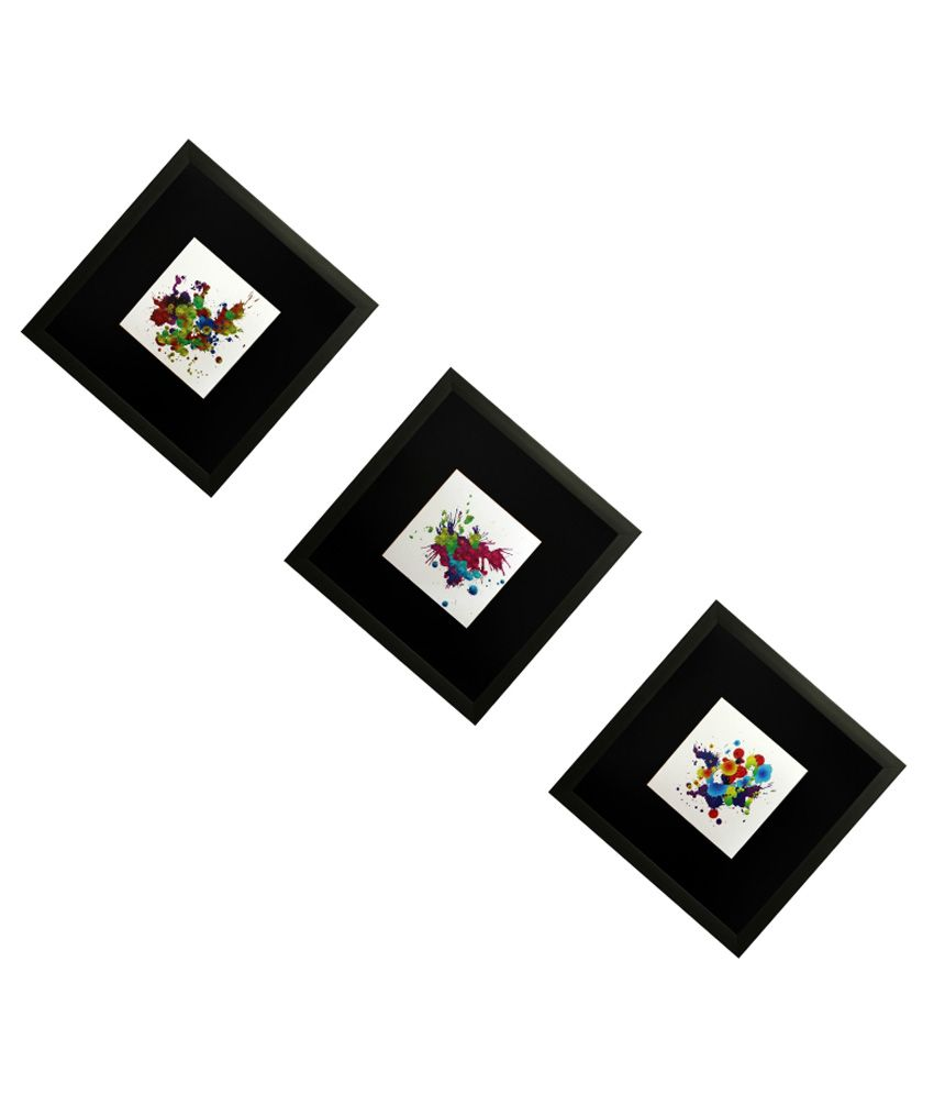 SAF Wooden Abstract Painting Set of 3 - With Frame