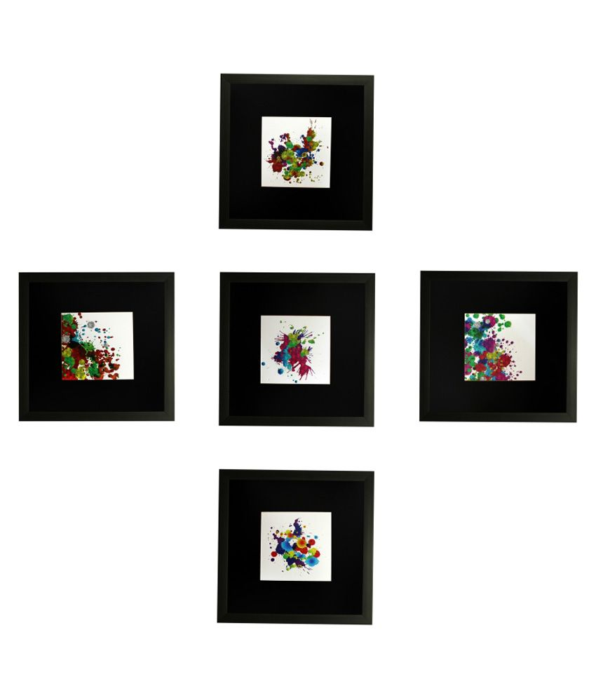 SAF Wooden Abstract Painting Set of 5 - With Frame