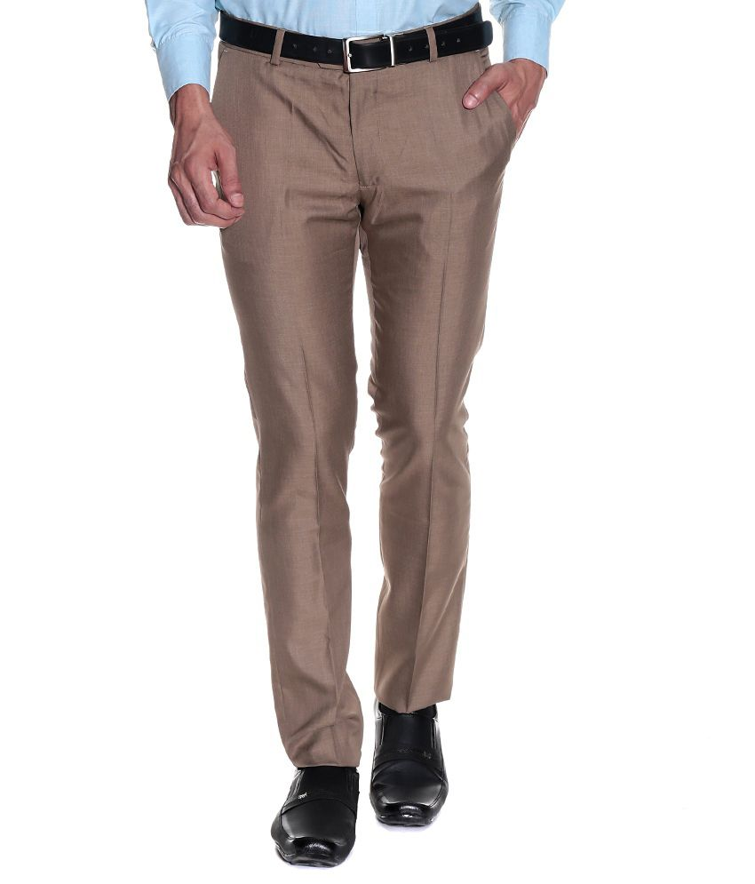 Style Beige Regular Fit Formal Flat Trouser