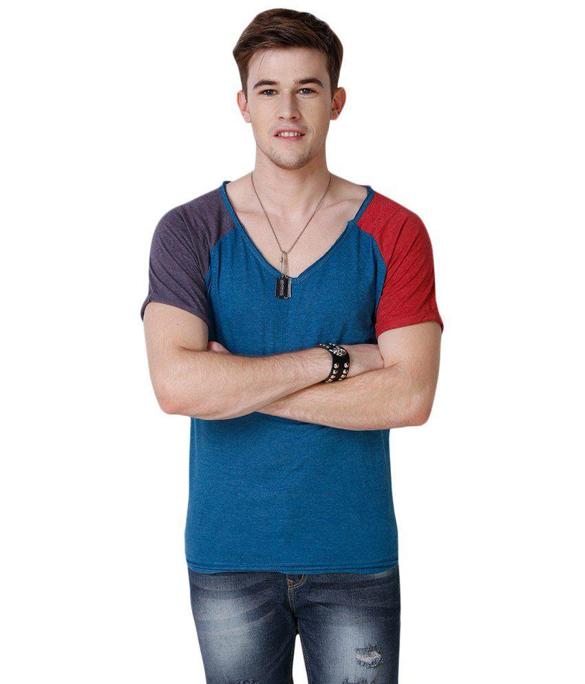 Yepme Gray Recard V Neck T Shirt