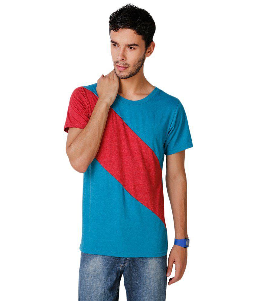 Yepme Red & Blue Stine Round Neck T Shirt
