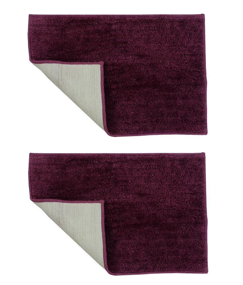 Azaani Combo Of 2 Micro Purple Bathmats