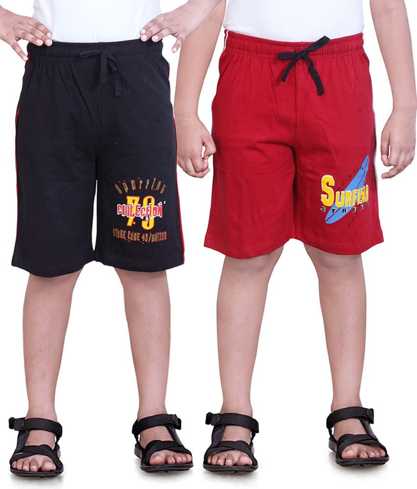 Dongli Red Cotton Shorts For Boys-Pack Of 2