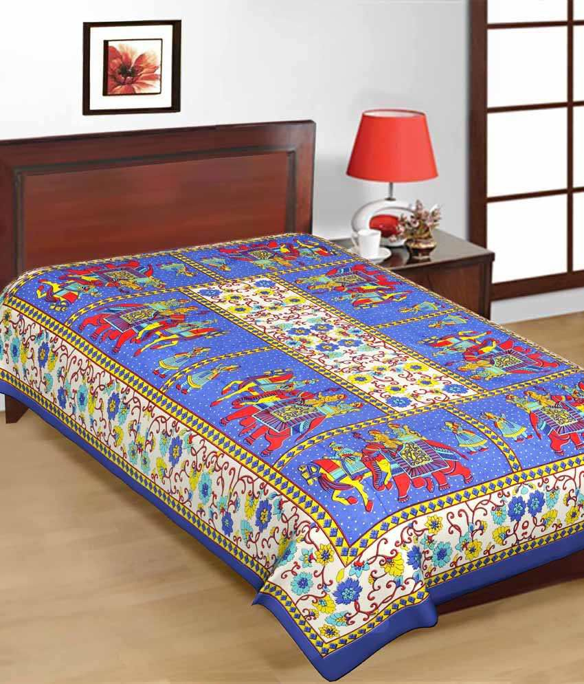 uniqchoice jaipuri traditional print cotton three single bed sheet