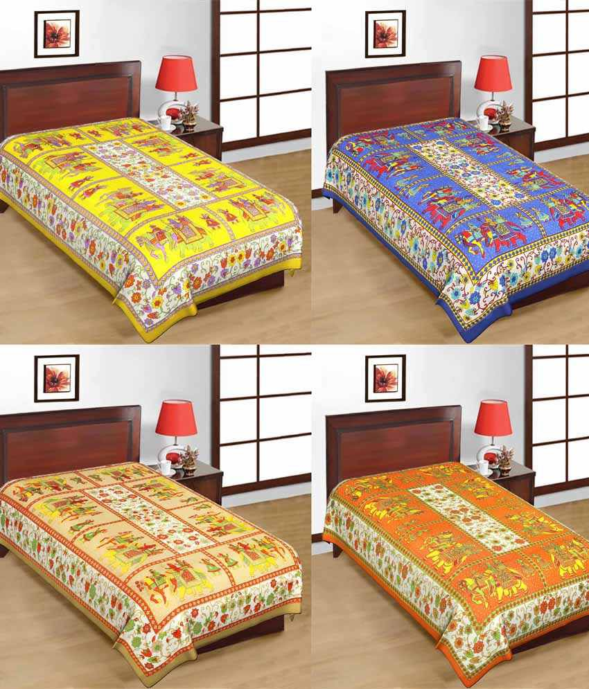 UniqChoie Combo of Jaipuri Traditional Print Cotton 4 Single Bed Sheet