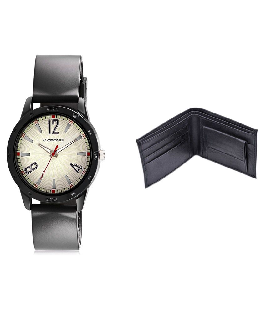 Vicbono Black Analog Watch With Wallet