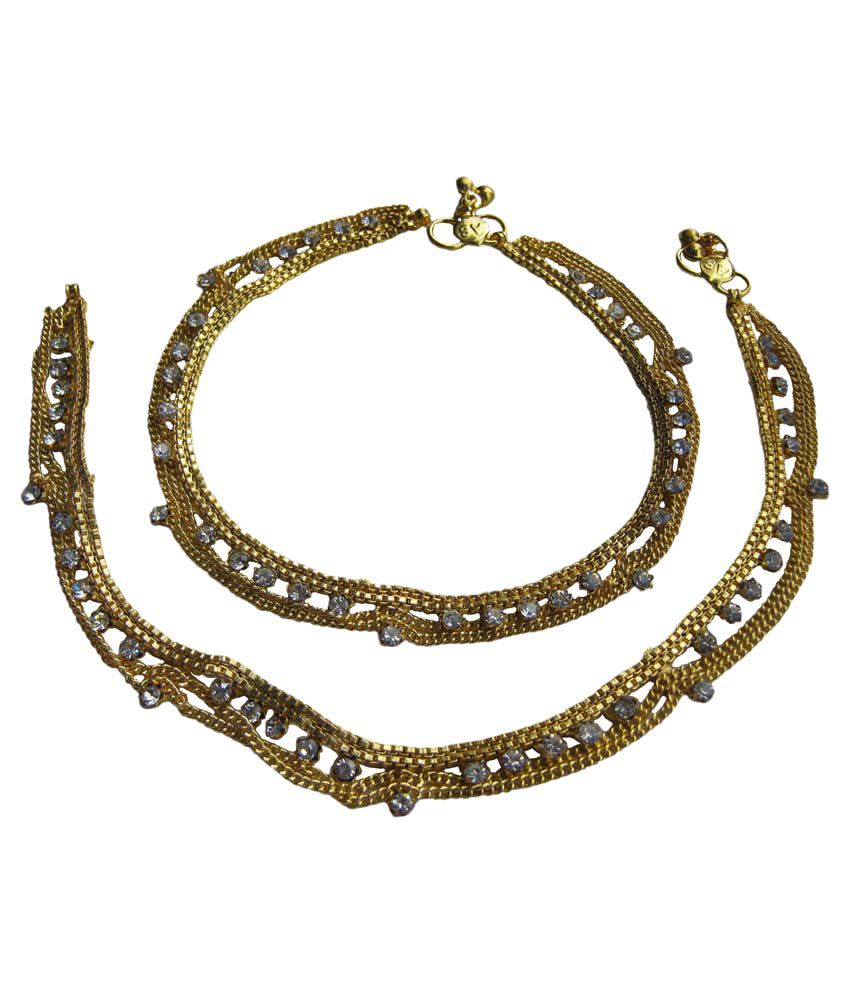 Akshat Golden Rajasthani Designer Anklet With Austrian Diamond