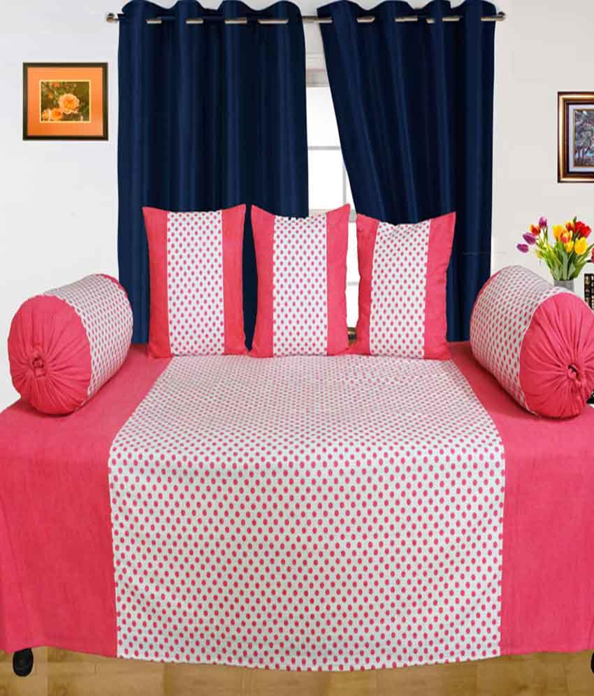 Dekor World Pink Printed Polyester Diwan Set