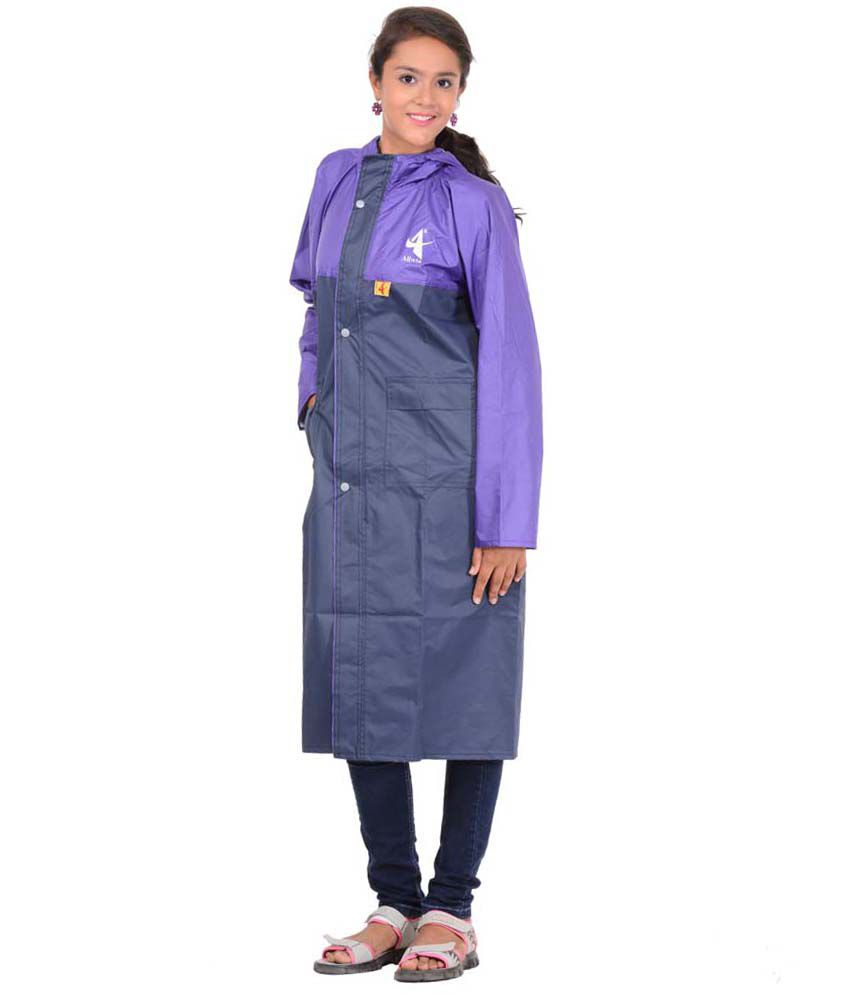 Allwin Polyester Girl's(kids) Longcoat Rainsuit Navy