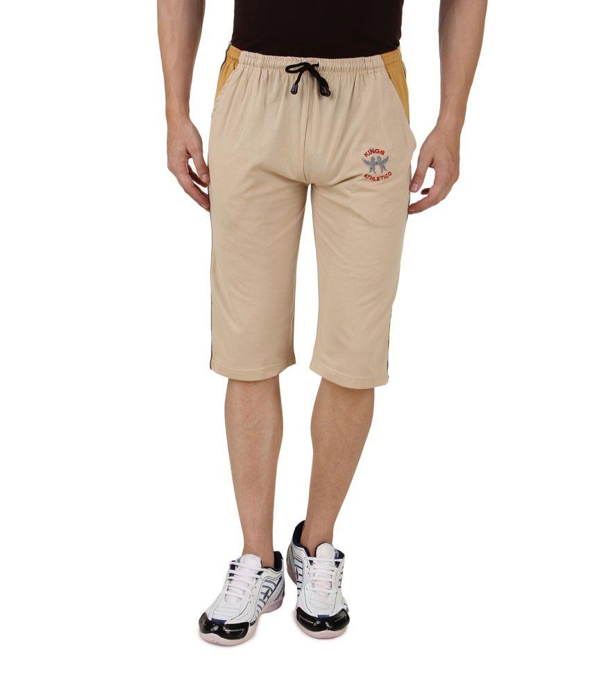 Hap Beige Cotton Long Shorts