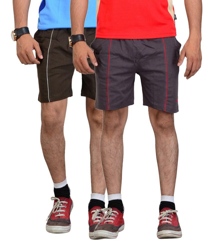 Vego Brown & Dark Gray Cotton Shorts for Men (Pack of 2)